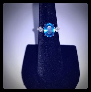Simulated Light Blue and White Diamond Ring